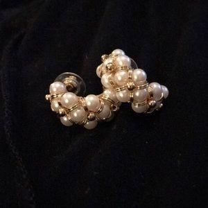Avon Pearl Checkerboard Goldtone Open Hoop Earring